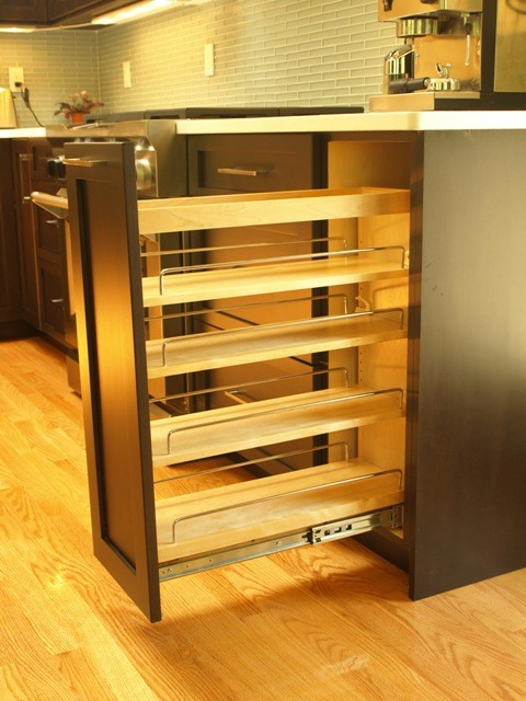 Spice pull out in a base cabinet - Transitional - Kitchen - new york - by KraftMaster Renovations