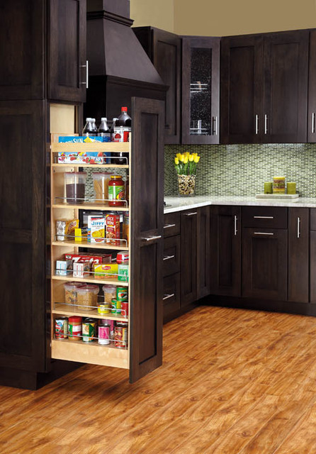Pullout Wood Pantry Traditional Kitchen