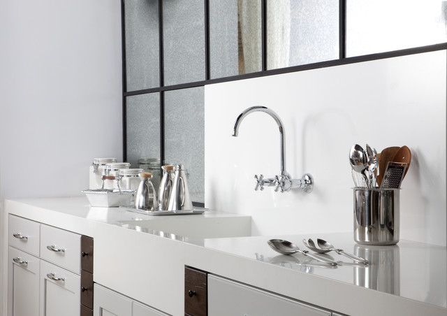 Pure white caesarstone modern kitchen boston by marble and granite inc - Caesarstone sink kitchen ...