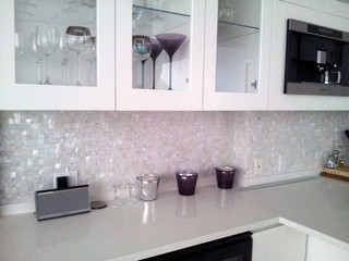 Pure White Seamless Freshwater Mosaic Tiles On Mesh