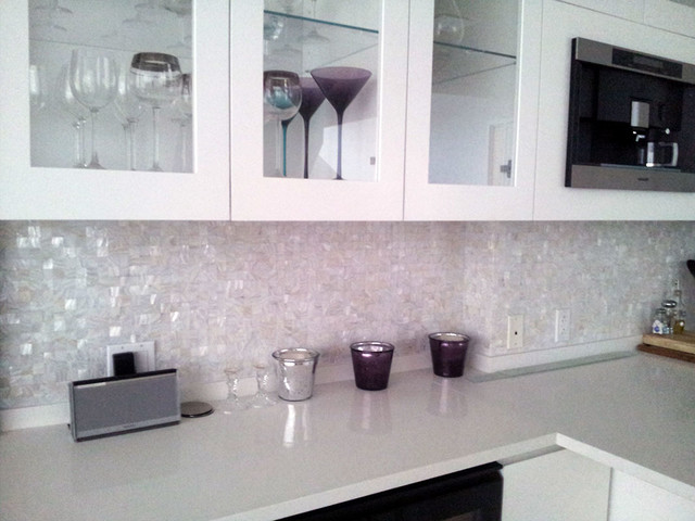 Pure White Seamless Freshwater Mosaic Tiles on Mesh Kitchen Project ...