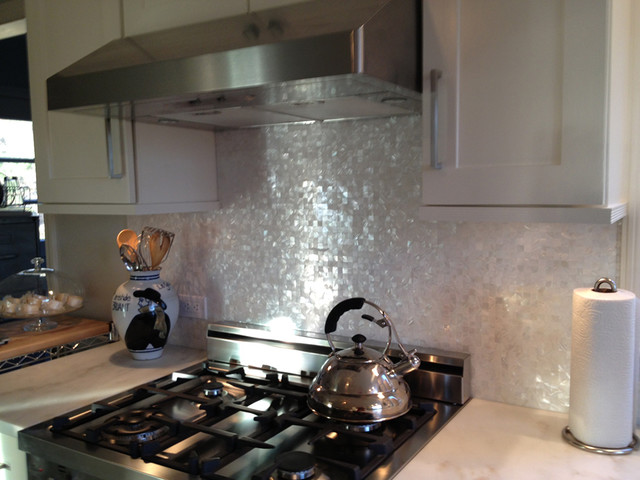 Pure White seamless freshwater mother of pearl on mesh kitchen - Contemporary - Kitchen - new ...