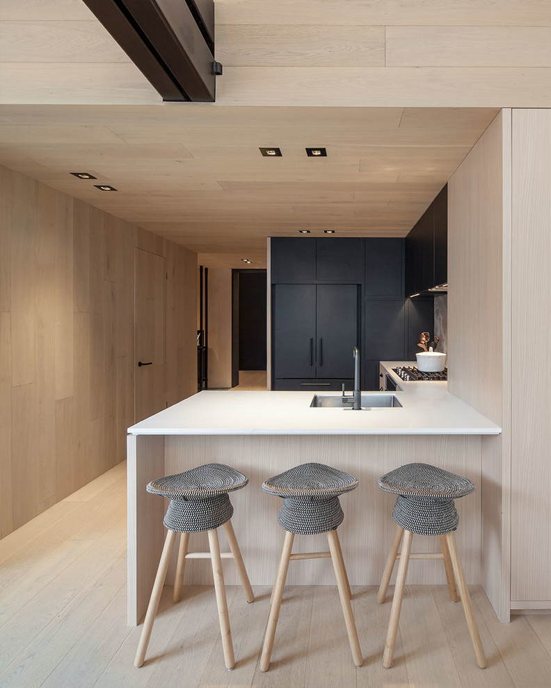 Example of a mid-sized minimalist u-shaped kitchen design in Toronto with an undermount sink, flat-panel cabinets, black cabinets, black appliances and a peninsula