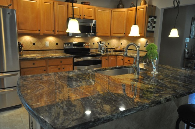 Purple Dunas Granite Countertop With Durango Tile