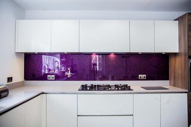 Purple Haze Luxury Kitchen Glass Splashbacks By Creoglass Design Modern Kitchen