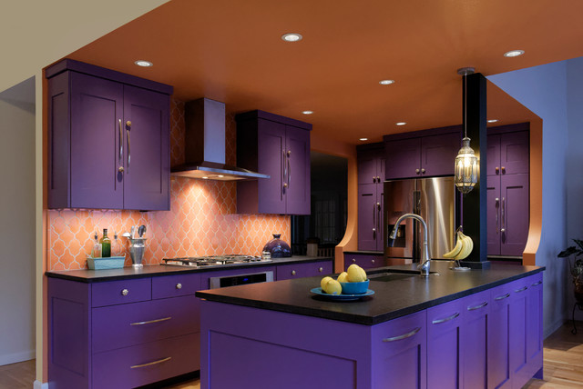 Purple Passion  Eclectic  Kitchen  Portland  by Rhonda