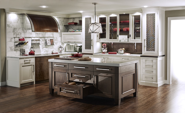 QCCI White Painted Kitchen with Walnut Cabinetry transitional-kitchen