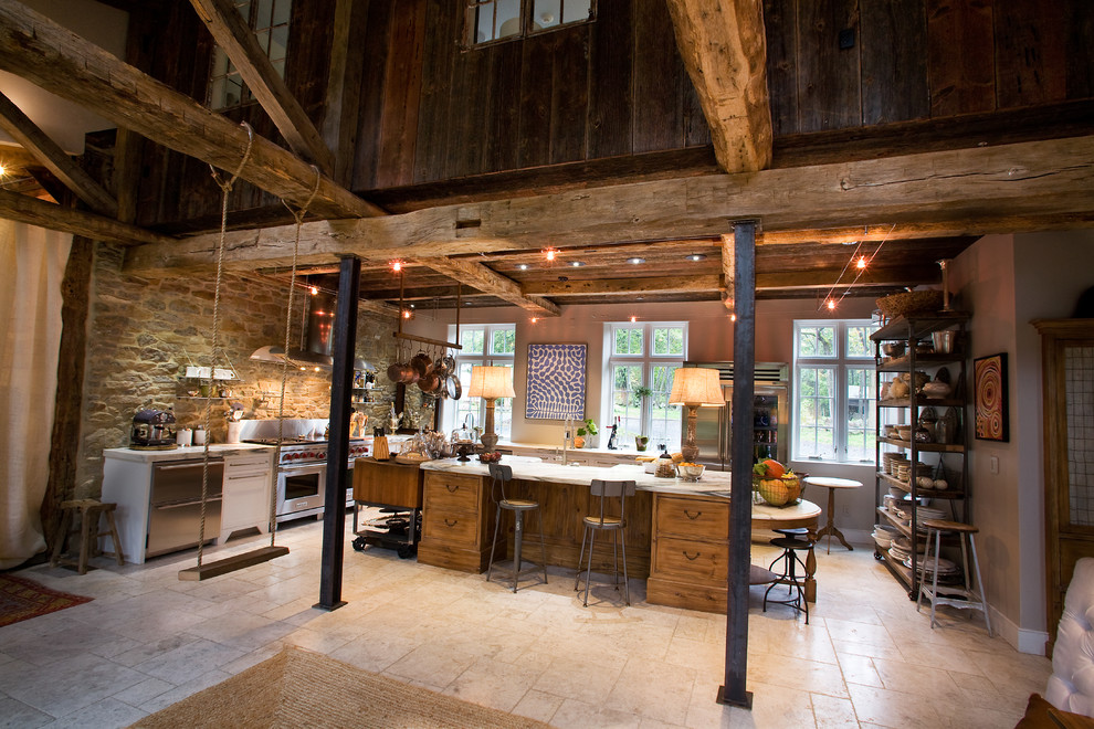 Open concept kitchen - huge rustic l-shaped marble floor and gray floor open concept kitchen idea in Philadelphia with stainless steel appliances, marble countertops, a farmhouse sink, shaker cabinets, white cabinets, an island and white countertops
