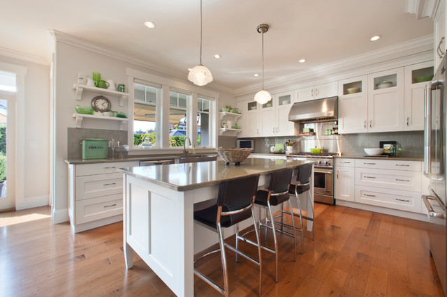 Grey Backsplash White Kitchen | Houzz