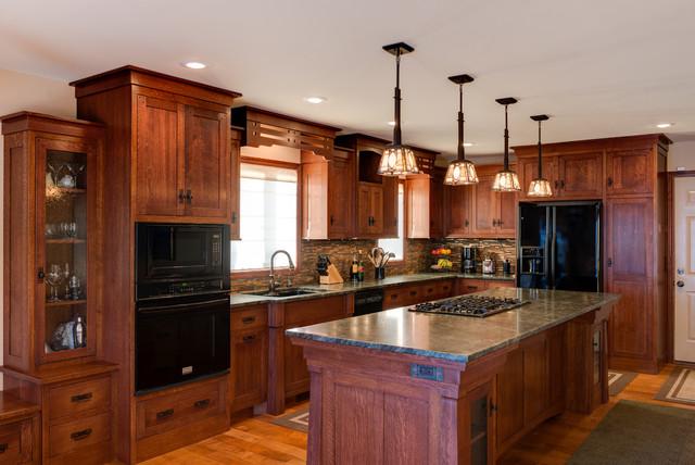 Quarter Sawn White Oak Island - Craftsman - Kitchen - minneapolis - by Dovetail Kitchen Designs