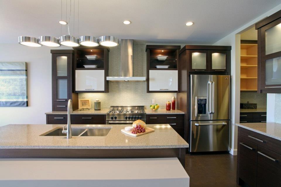 Quartz and Solid Surface Open Concept Kitchen