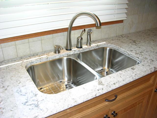 Quartz Countertop And Tiled Backsplash Kitchen Toronto