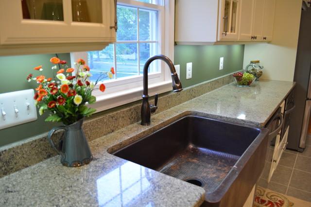 Quartz countertop with copper farm sink farmhouse kitchen dc