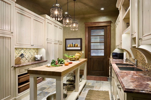 example of a mountain style kitchen design with a double bowl sink recessed - Narrow Kitchen Island