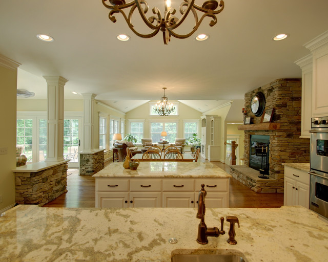 Quiet Casual Home: View from Kitchen into Living Spaces traditional-kitchen