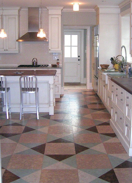 Beau Quilt Style Globus Cork Floor In Kitchen Renovation Eclectic Kitchen