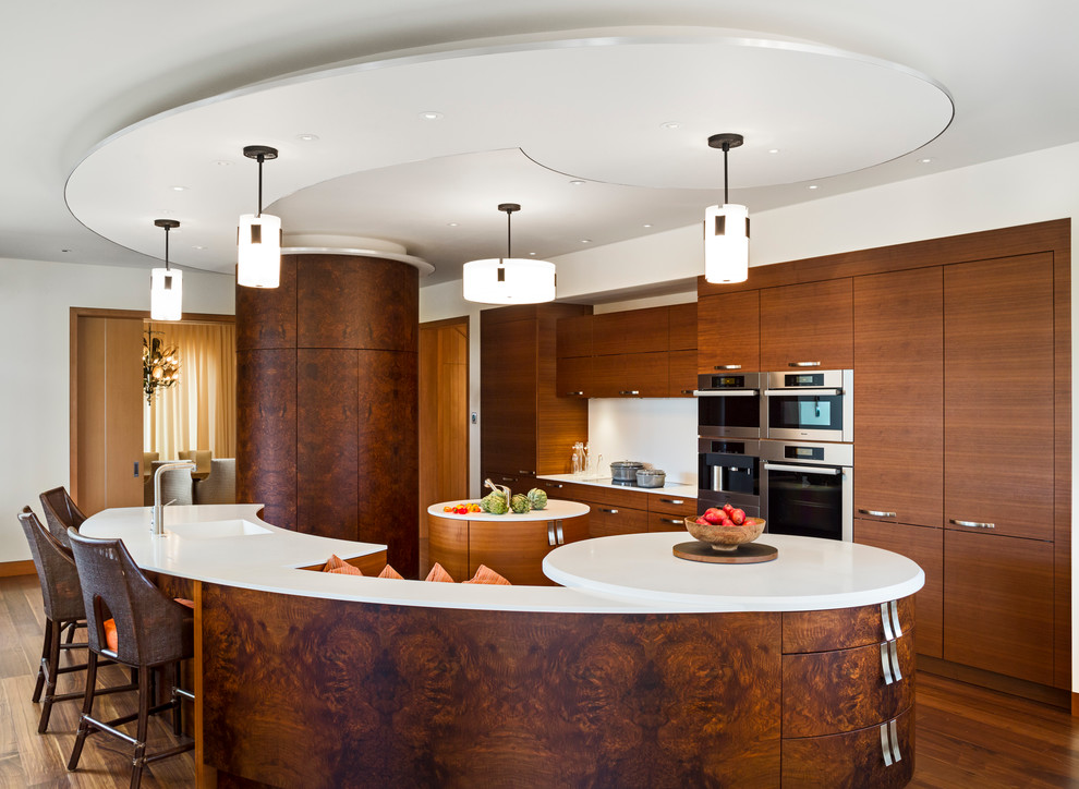 Example of a trendy kitchen design in Other with flat-panel cabinets and dark wood cabinets