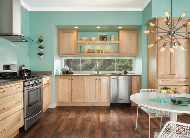 Eat In Kitchen   Eclectic L Shaped Medium Tone Wood Floor Eat In. Email  Save. Cardell Cabinetry
