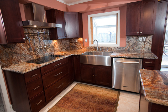 Rainforest Brown Granite Kitchen In Bowie, MD Contemporary Kitchen