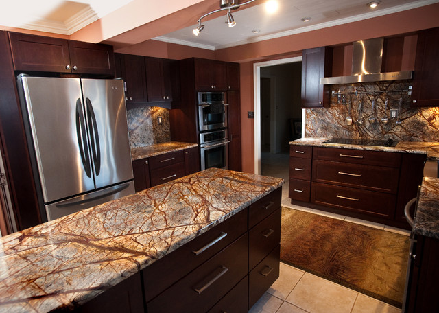 Rainforest Brown Granite Kitchen in Bowie, MD - contemporary ...