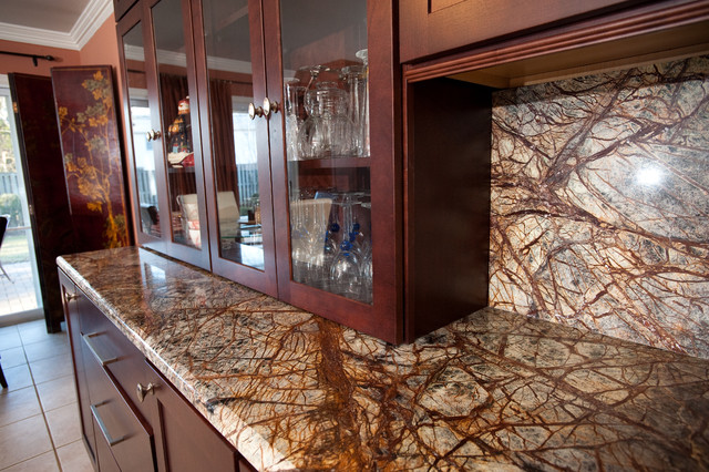 Rainforest Brown Granite Kitchen in Bowie, MD - Contemporary - Kitchen - dc metro - by Granite ...