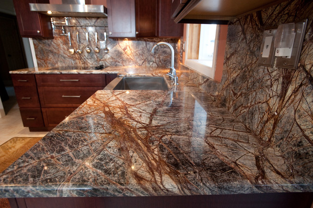 Bon Rainforest Brown Granite Kitchen In Bowie, MD Contemporary Kitchen