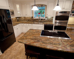 Golden crystal granite modern kitchen countertops dc for How much can granite overhang without support