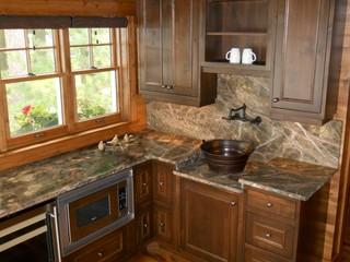 Rainforest Green Marble Kitchen Rustic