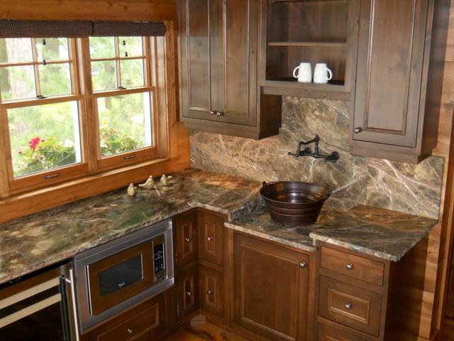Rainforest Green Marble Kitchen - Rustic - Kitchen ...