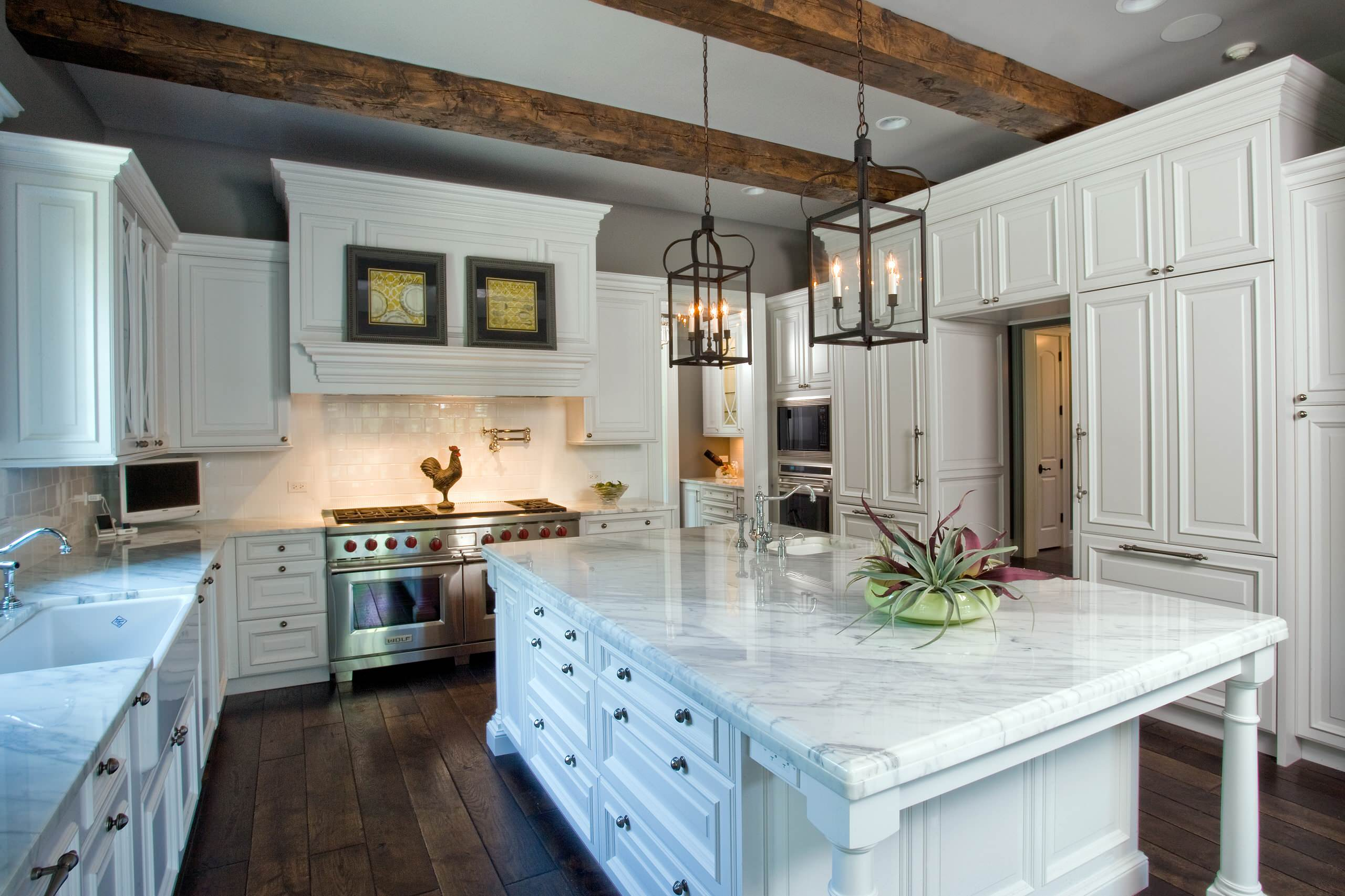 White Cabinets With Stained Island Ideas Photos Houzz