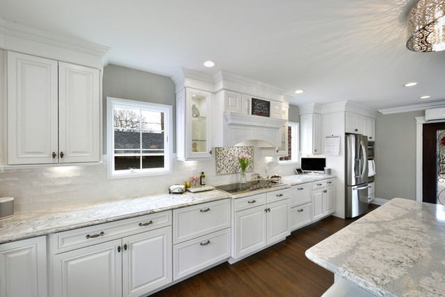 Example of a transitional kitchen design in New York