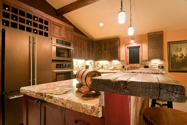 Raising the Bar - Rustic - Kitchen - denver - by Somrak Concept and Structure, Inc.