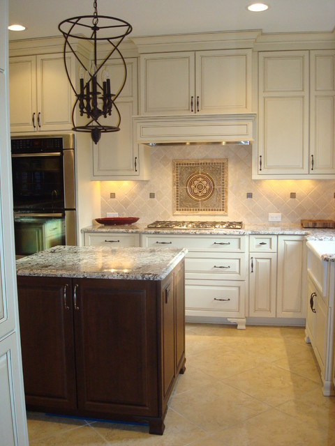 raleigh kitchen remodel - transitional, antique white, glazed cabinetry traditional-kitchen