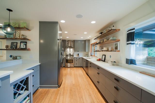 ranch conversion portland oregon midcentury kitchen portland by encircle design and build. Black Bedroom Furniture Sets. Home Design Ideas