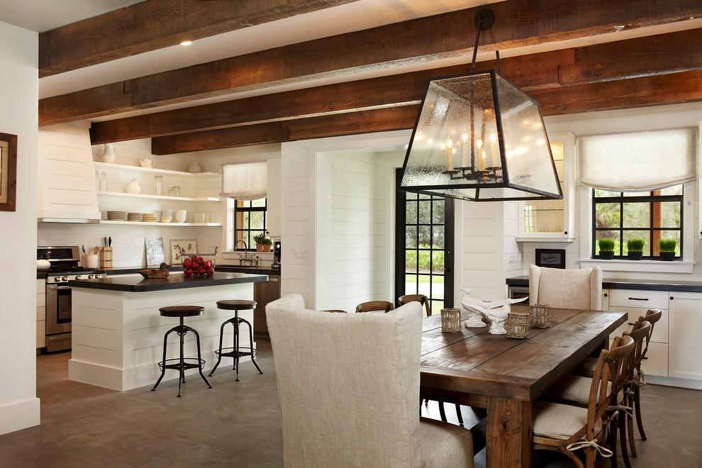 Dining room - rustic dining room idea in Miami