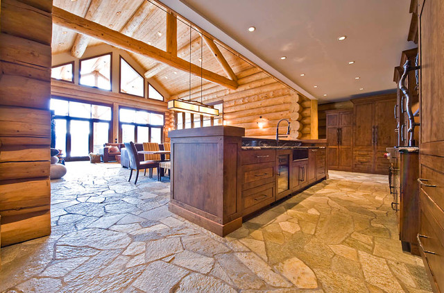 Ranch log home traditional kitchen by sitka log homes for Log home kitchens gallery