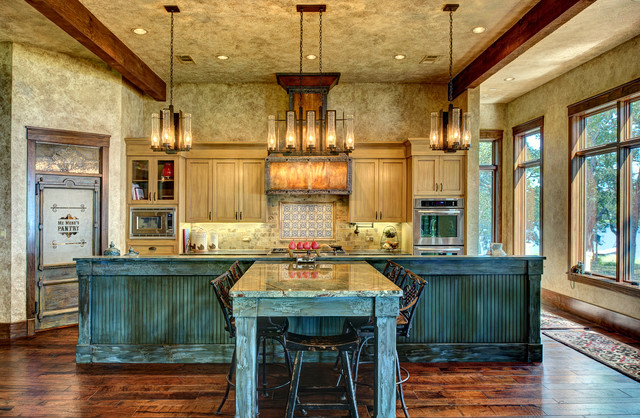 Ranch style by the lake rustic kitchen houston by for Custom rustic homes
