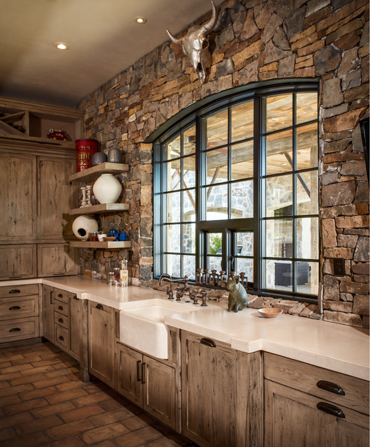 Ranch rustic kitchen houston by thompson custom homes for Western kitchen cabinets