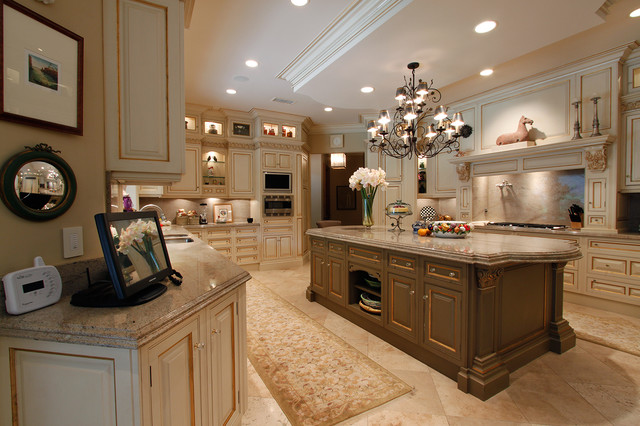 Elegant U Shaped Kitchen Photo In San Go With Marble Countertops Raised Panel
