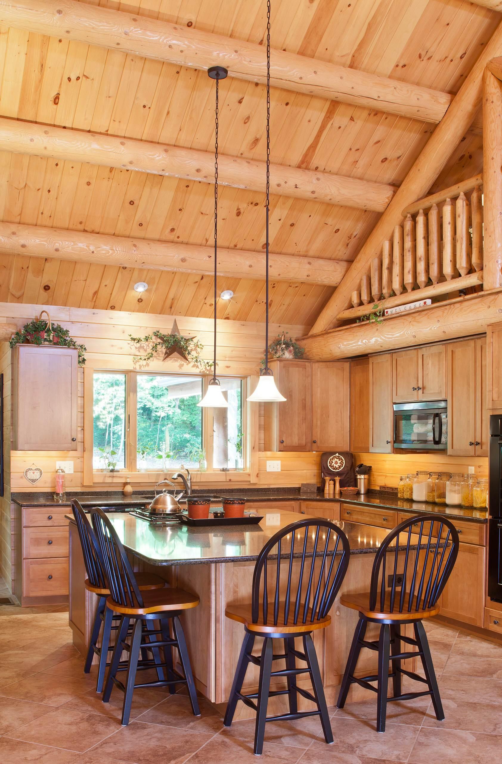 Reading Pa Family Retreat Rustic Kitchen Philadelphia By Katahdin Cedar Log Homes Houzz