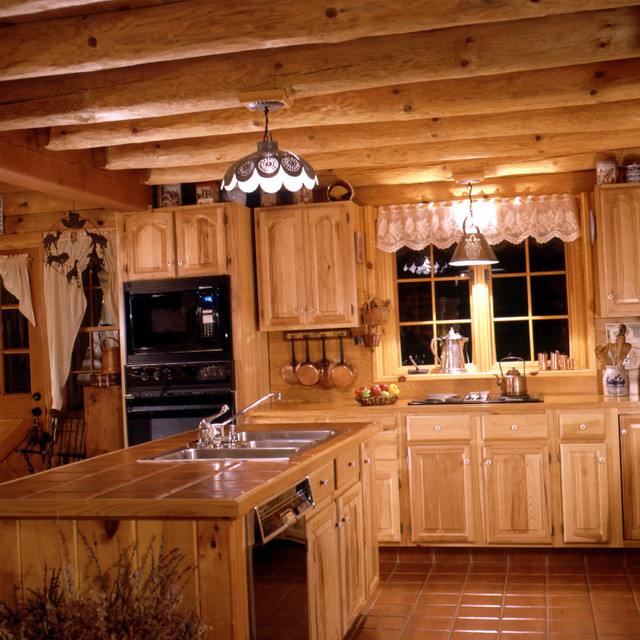 Real log home cabin model for Log home kitchens gallery