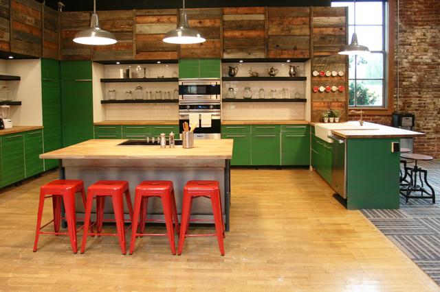 industrial-kitchen Barnwood Kitchen Shelving Ideas on