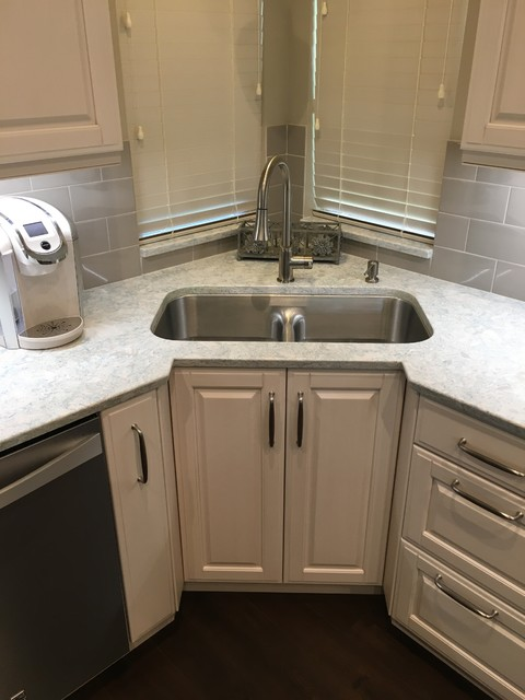 Recessed Corner Sink Cabinet With A Low Divide Sink Set In Montgomery Counter Transitional Kitchen Houston By Bay Area Kitchens