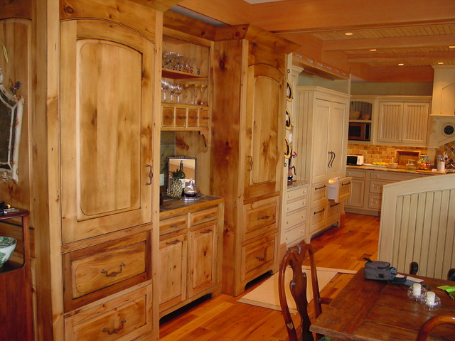 Reclaimed Antique Pine Bar Rustic Kitchen Portland Maine By Zarse Custom Cabinet Company