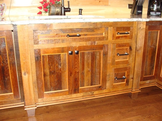 Reclaimed Barnwood Kitchen Cabinets - Traditional ...