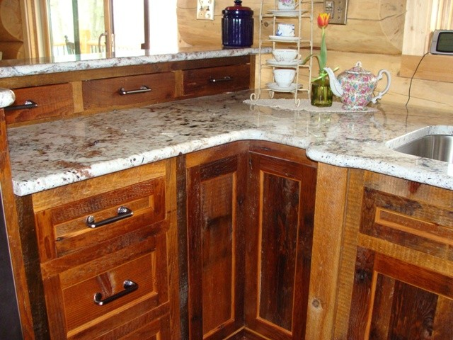 Reclaimed Barnwood Kitchen Cabinets Traditional