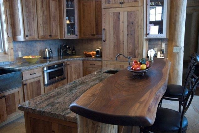 Reclaimed Chestnut With Walnut Slab Bartop Rustic