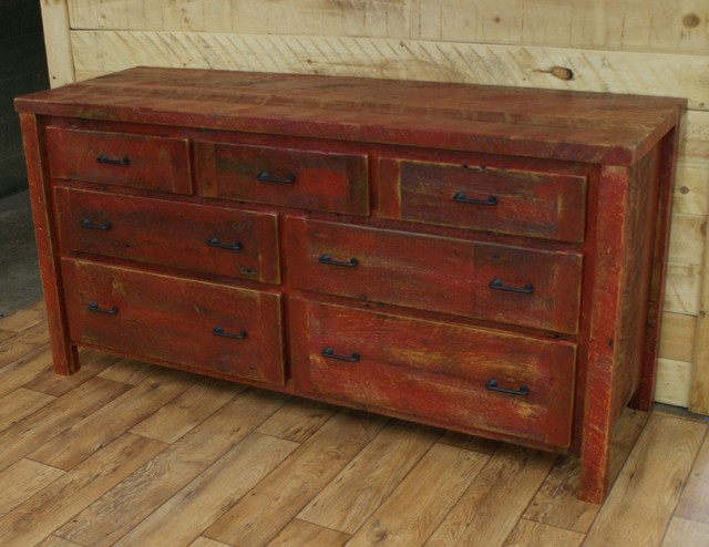 Reclaimed Dresser Barn Red Finish - Rustic - Kitchen - other metro - by Northshore Wood Products INC