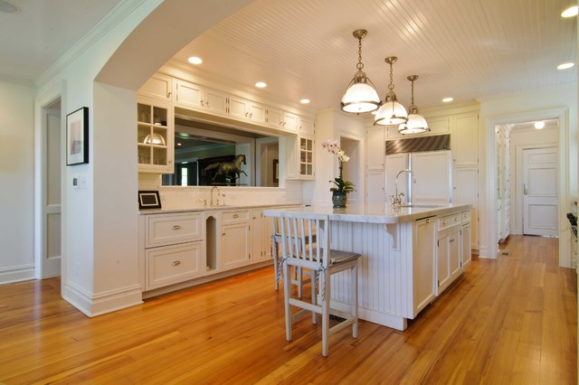 Reclaimed Heart Pine Flooring Traditional Kitchen