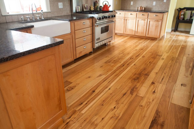 Reclaimed Hickory Flooring Transitional Kitchen